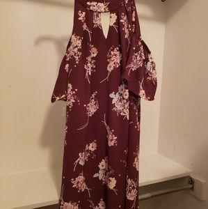 Cold shoulder burgundy Dress